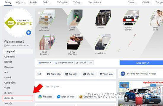 Chọn tab Giới thiệu (thanh menu bên trái)