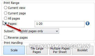 In PDF 2 mặt trang lẻ