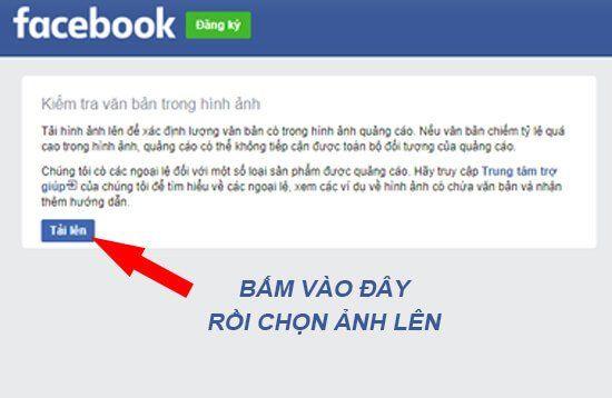 Tải ảnh check tỉ lệ text overlay facebook