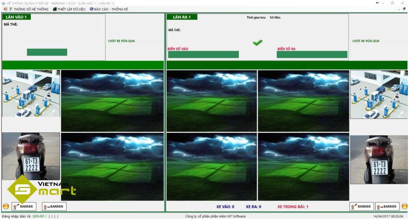 Giao diện phần mềm quản lý bãi xe parking 1.0