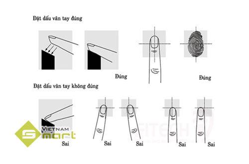 Cách đặt tay đúng cách khi đăng ký vân tay trên máy chấm công