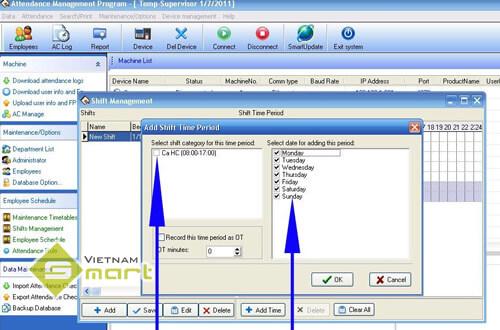 Khai báo ca làm việc trên phần mềm Attendance Management