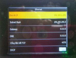 Trạng thái OFF DHCP