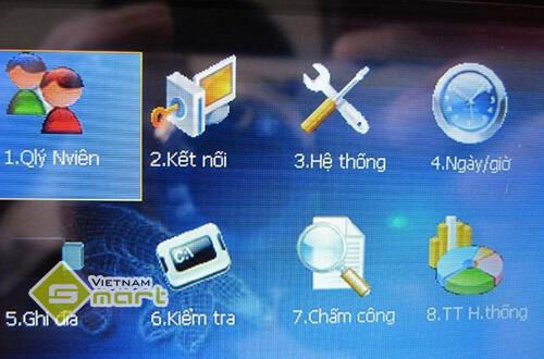 Giao diện menu chính của máy chấm công