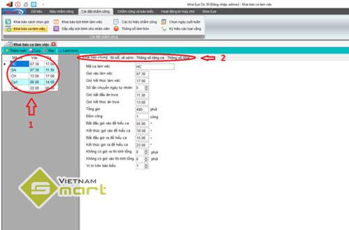 khai báo ca làm việc trong phần mềm WiseEye On39