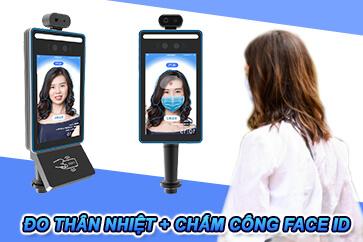 Hệ thống chấm công khuôn mặt kết hợp camera đo thân nhiệt tự động