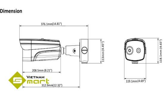 Tổng quan kích thước của sản phẩm camera