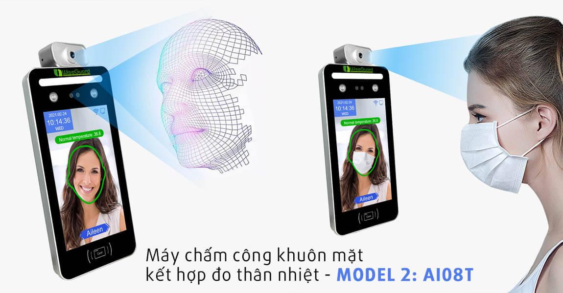 Máy chấm công khuôn mặt đo thân nhiệt model ai08t