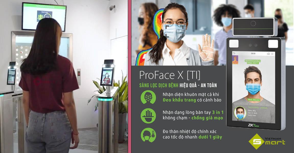 Máy chấm công đo thân nhiệt nhận diện khuôn mặt Zkteco ProFace X [TI]