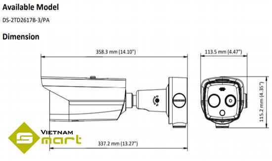 Tổng quan kích thước các cạnh của sản phẩm DS-2TD2617B-3PA