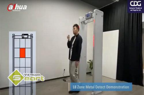Test tính năng dò kim loại của sản phẩm cổng dò kim loại và đo thân nhiệt ISC-D718-T