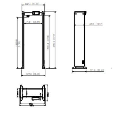 Tổng quan kích thước của thiết bị cổng dò kim loại và đo thân nhiệt DHI-ISC-D733-T