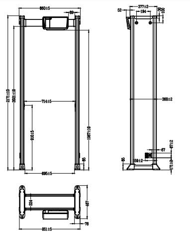 Kích thước của cổng dò DHI-ISC-D206